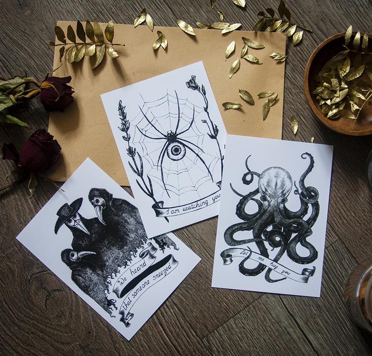 Postcards - plaguedoctor, octopus - dustyburrow | ello