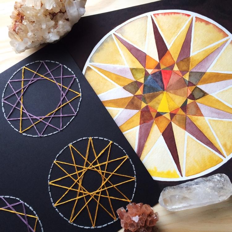 Ochre Quincunx Wheel Embroidere - evmaeve   ello