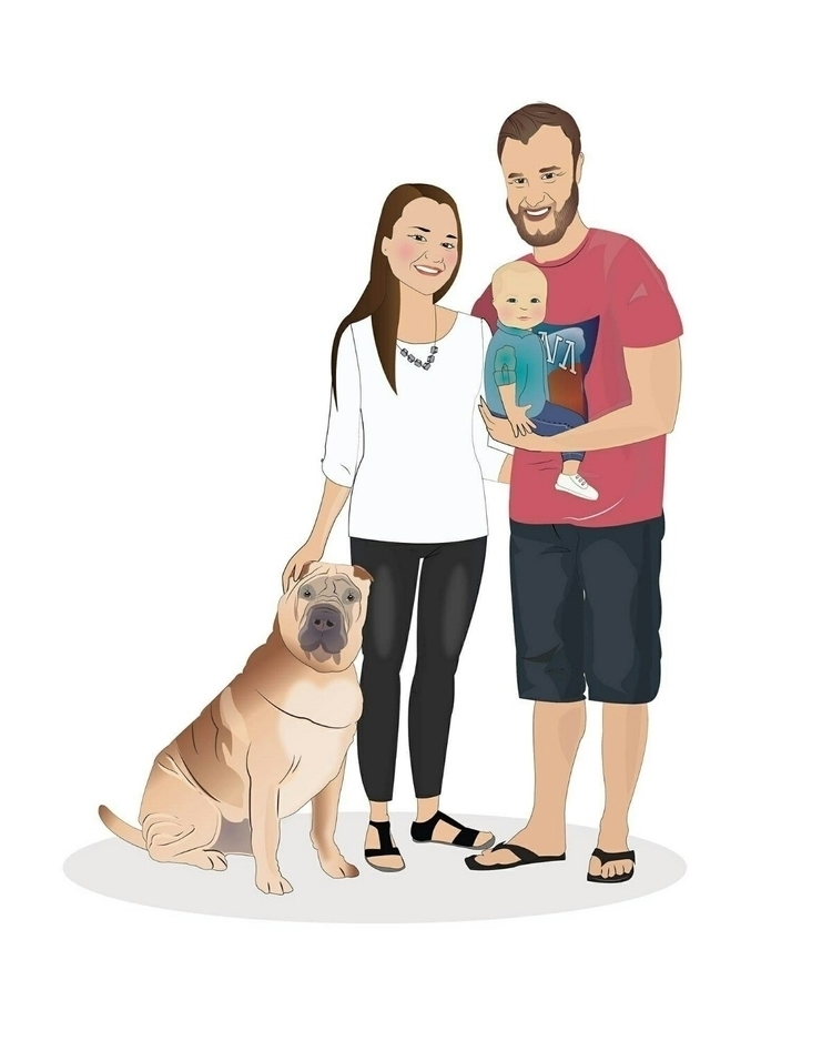 customized family portrait - illustration - cleosportraits | ello