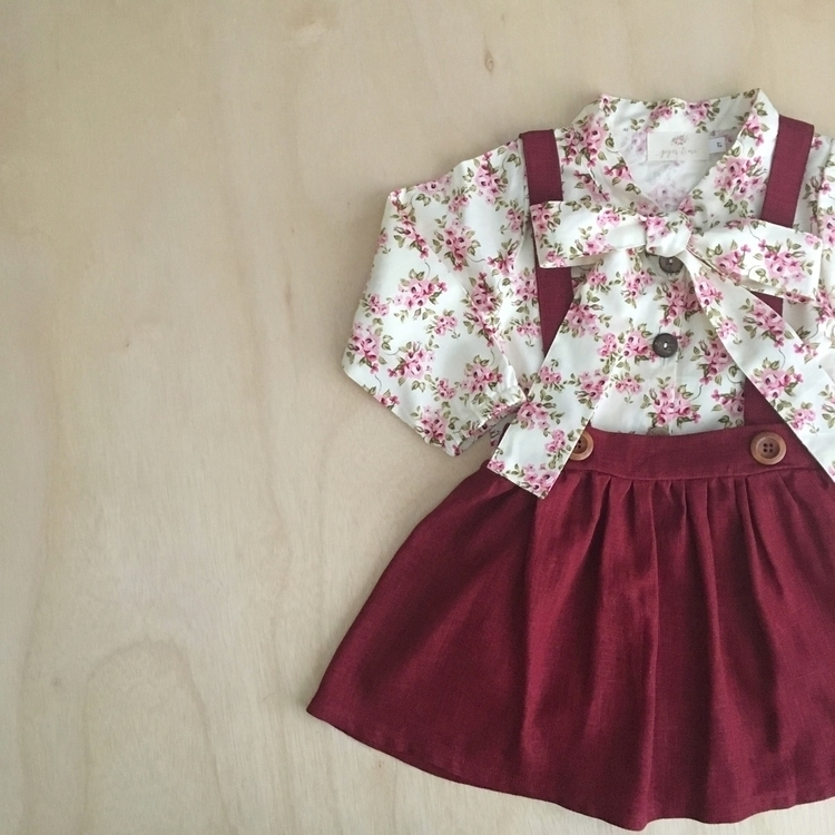 Floral necktie blouse burgundy  - piperandmeboutique | ello
