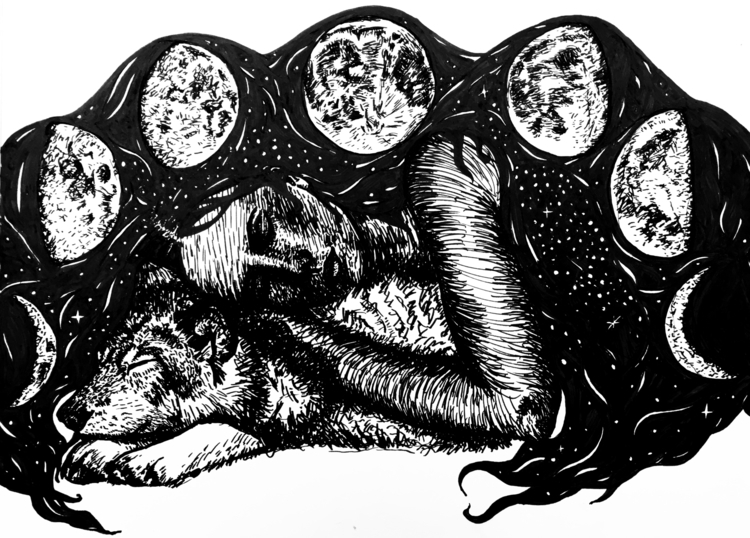 Wolf Moon Instagram - ink, blackandewhite - inklining | ello