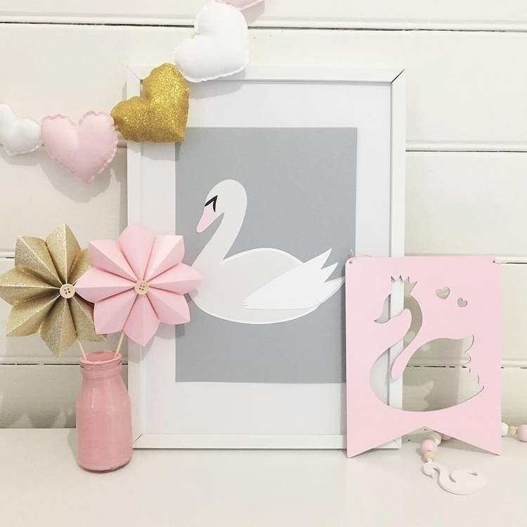 Beautiful Sybil Swan pink beak  - paperlee | ello