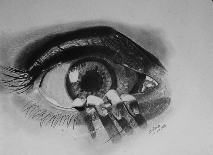graphite drawing titled glimpse - scene360 | ello