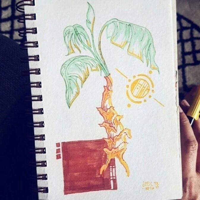 morning doodle - palmtree, marker - deeni | ello
