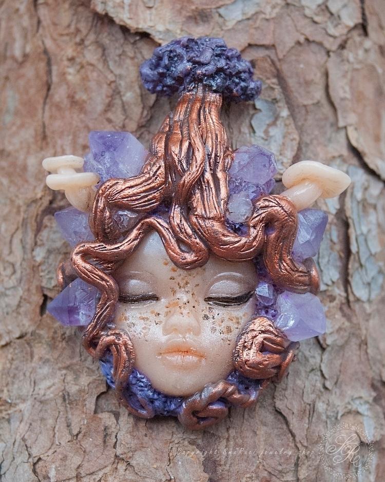 Polymer clay pendant Amethyst c - smeruci | ello