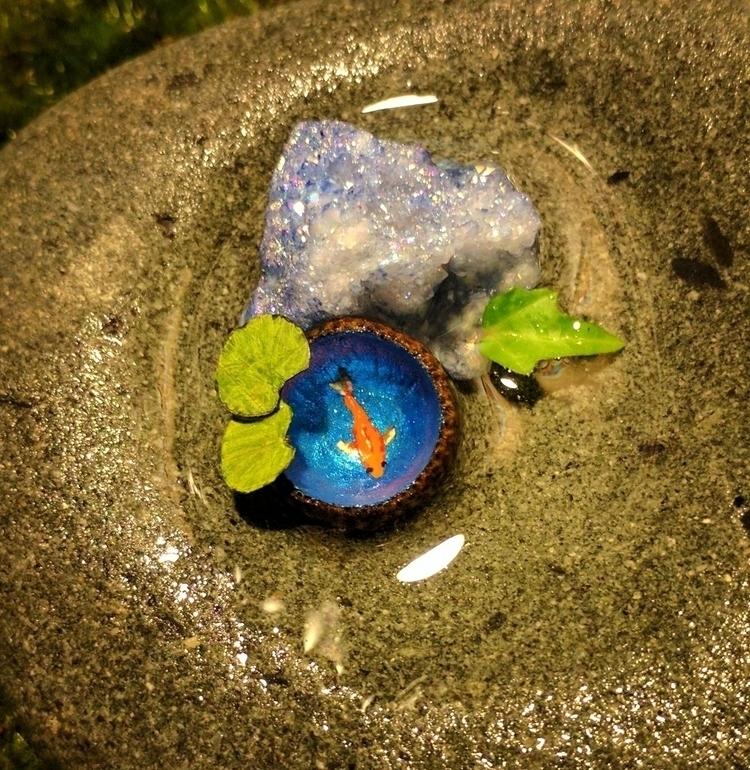 Acorn cap tiny zen diorama - koi - clovermoon | ello