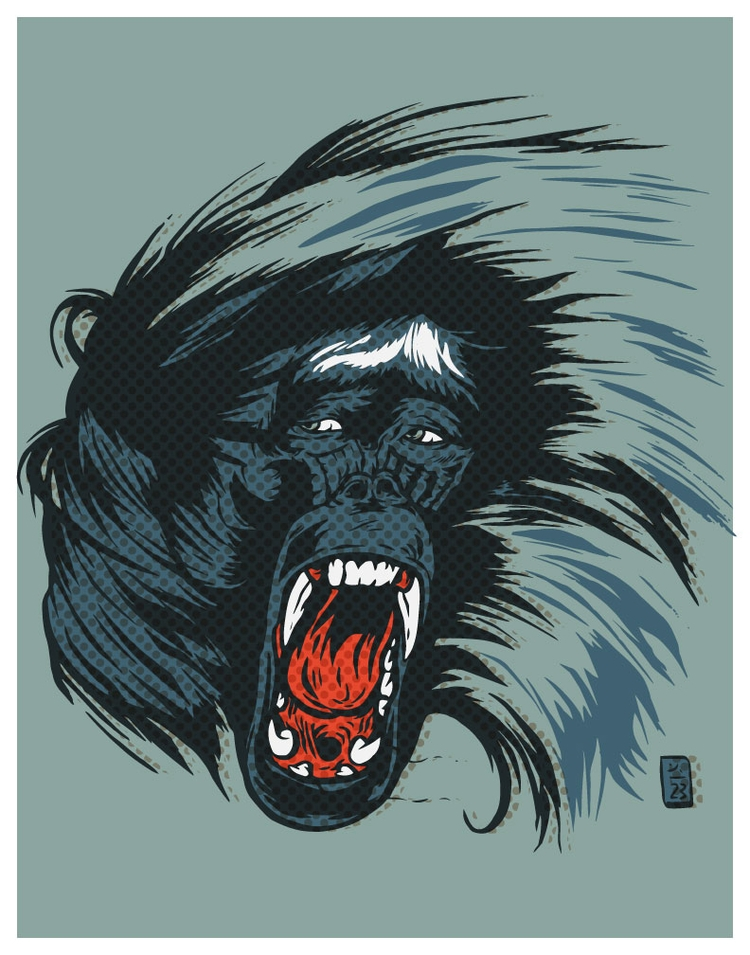 Baboon Screaming - illustration - thomcat23 | ello