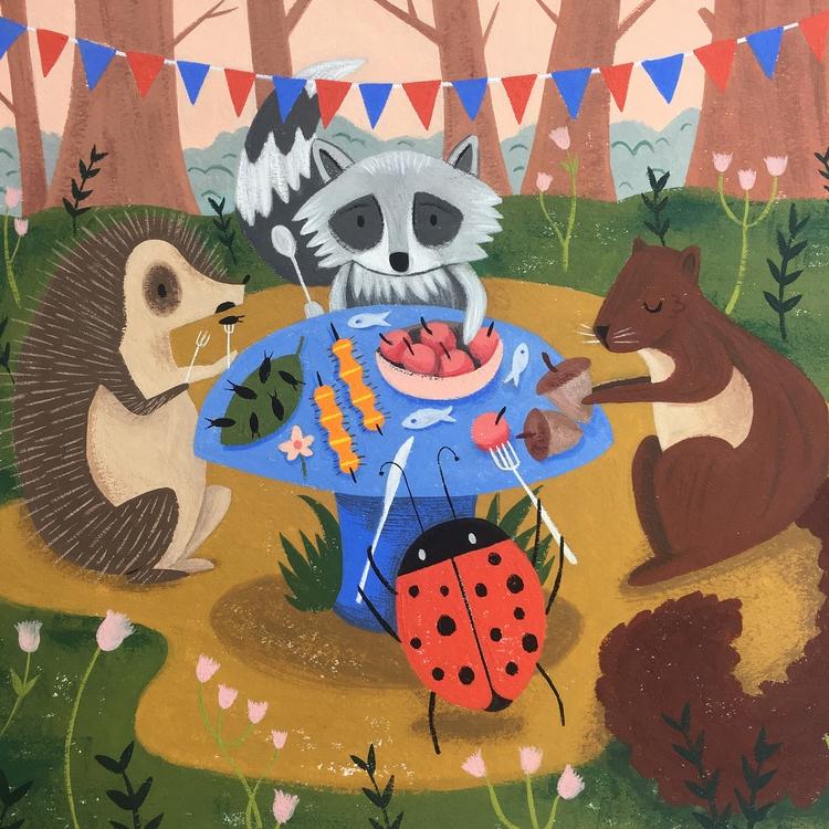 Summer Picnic - art, gouache, painting - alexander_mostov | ello