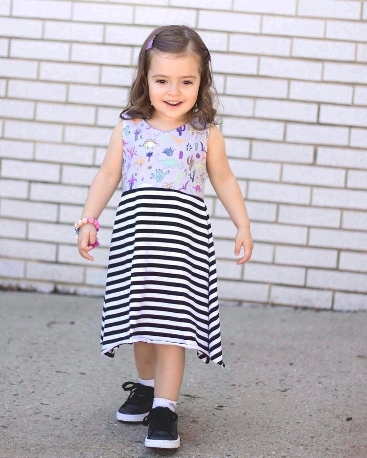 Dino + stripe dresses die - Etsy - littleteepeedesigns | ello