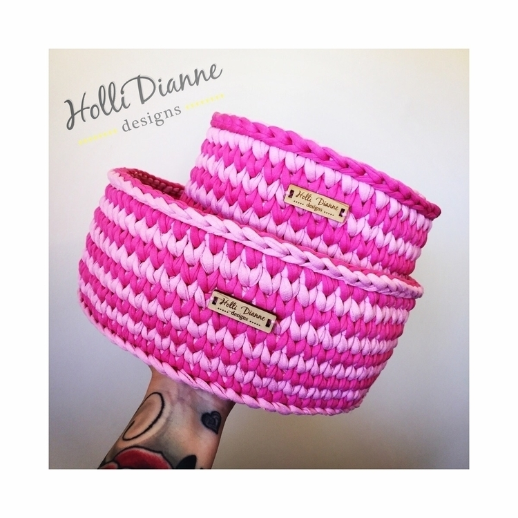 Striped Pink Crocheted Basket - hollidianne | ello