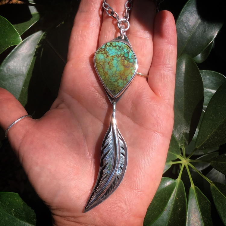 Turquoise Feather Talisman Neck - lunaseestudios | ello