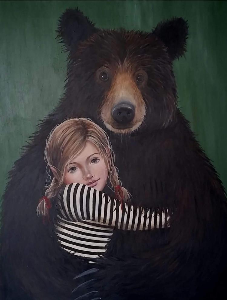 Bearhug. 90 cm 70 cm. Acrylics  - hannefeldt | ello