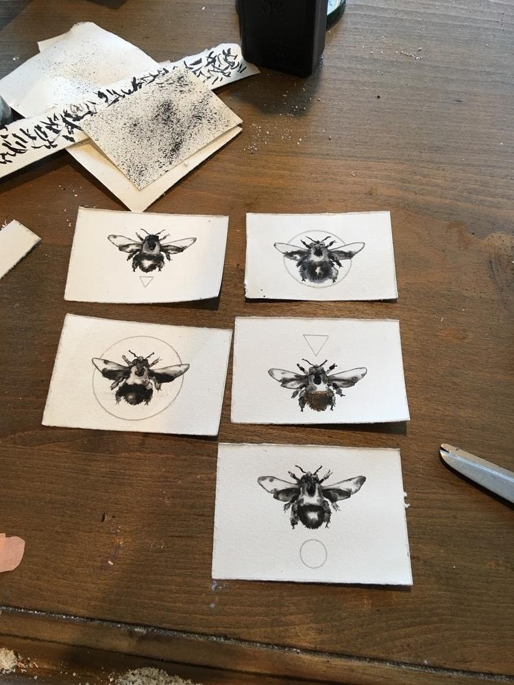 worked bunch tiny harvester bee - alexakarabin | ello