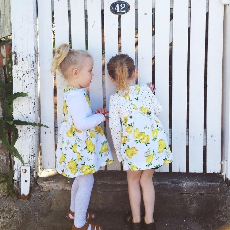 Shop lemon print dress pinafore - adaandnoble | ello