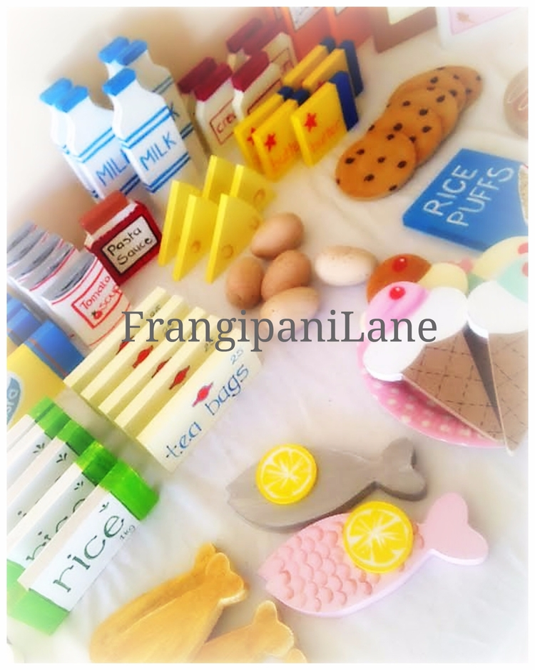 Handpainted Timber Food Playset - frangipanilane | ello