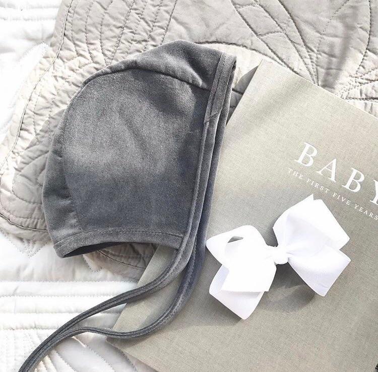Grey velveteen bonnet - foxandcradle | ello