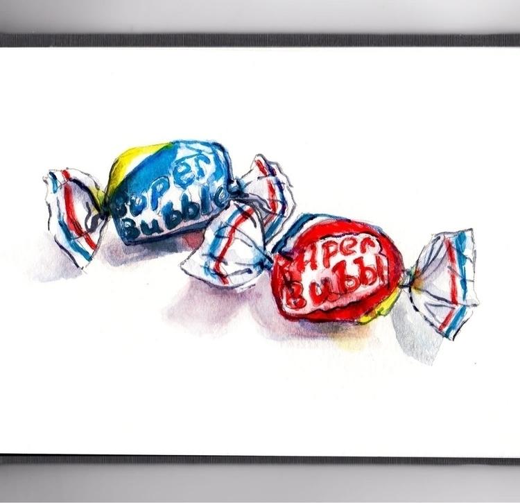 Chewing Bubble Gum - watercolor - doodlewash   ello