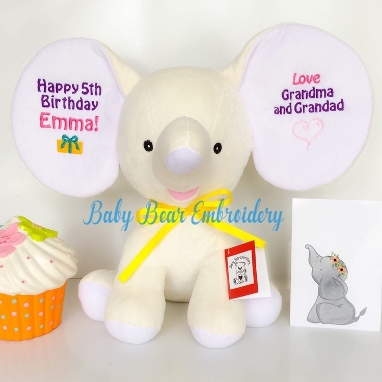 gorgeous elephant 5th birthday  - babybearembroidery | ello