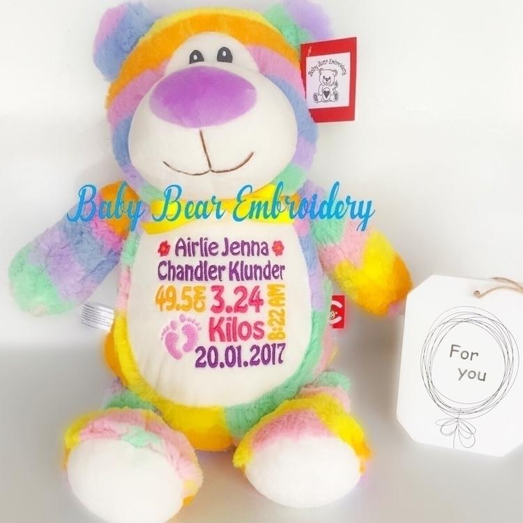Pastel Rainbow teddy Airele vib - babybearembroidery | ello