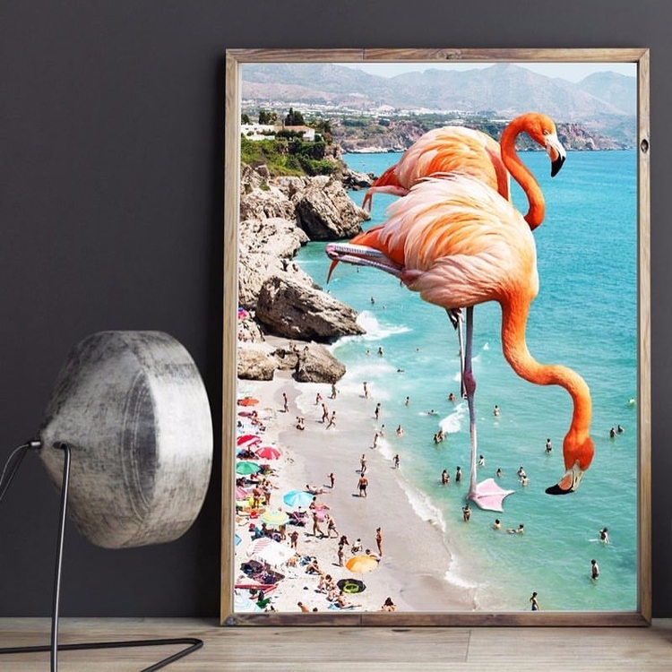 love art print 'Flamingos Beach - artrookie | ello