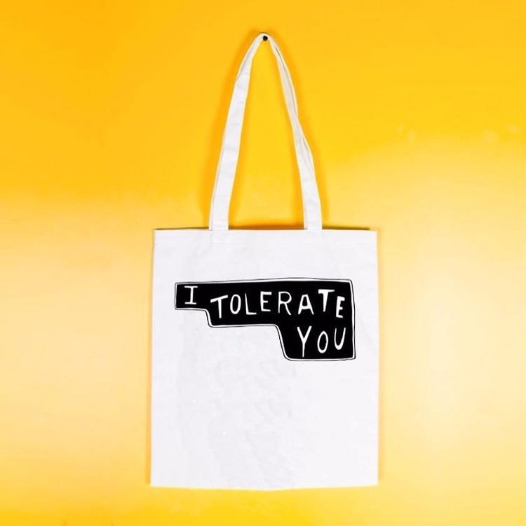 love tolerate tote bag MinnieMo - artrookie | ello