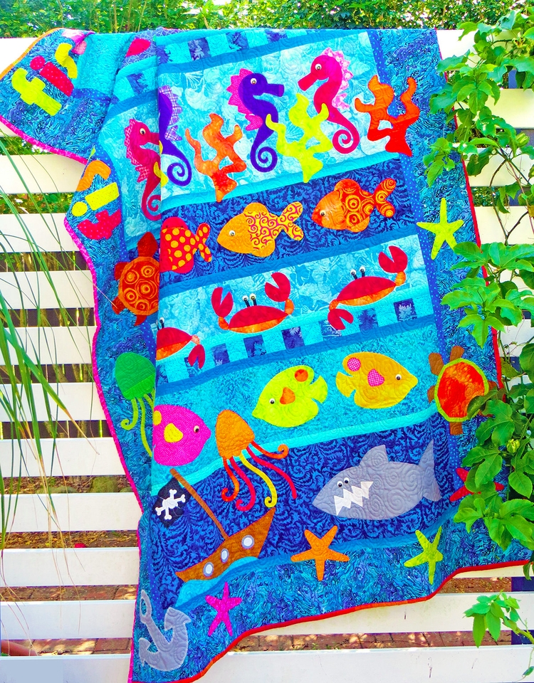 Fishy design quilts decor room  - theredbootquiltco | ello