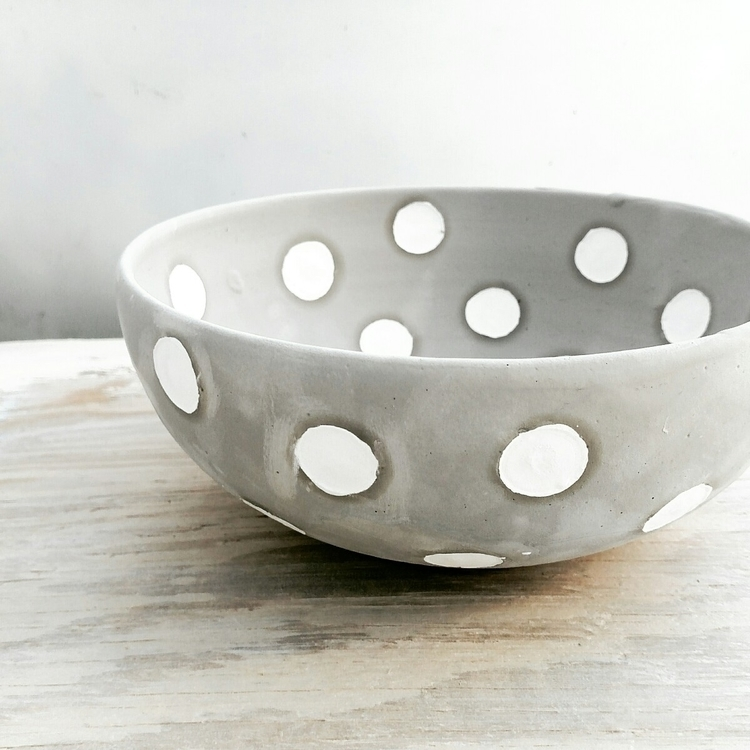 polka dotted bowl ready glaze f - jdwolfepottery   ello