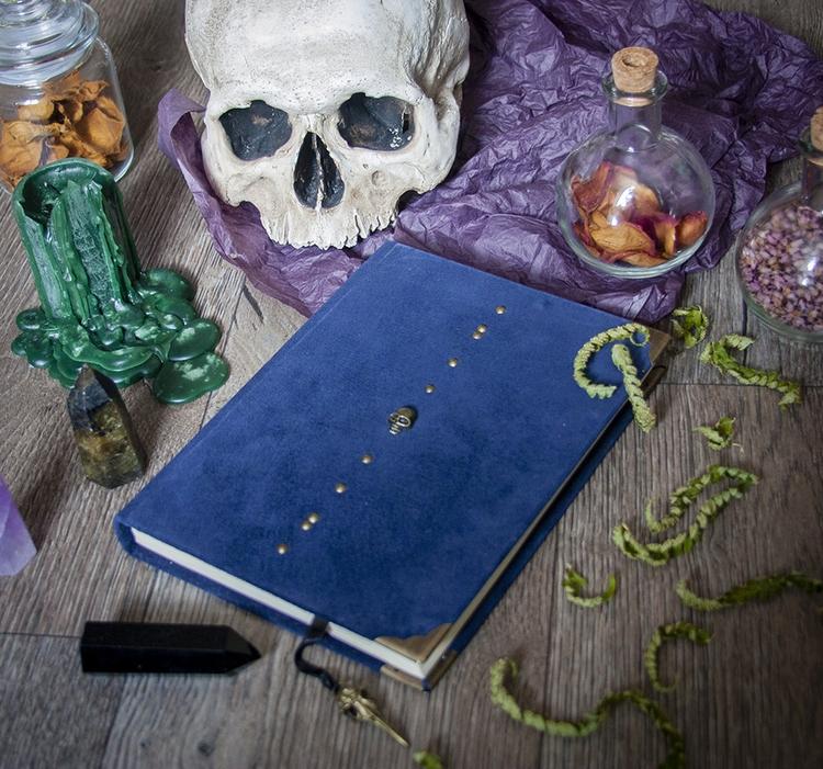skull, handmade, witch, blue - dustyburrow | ello