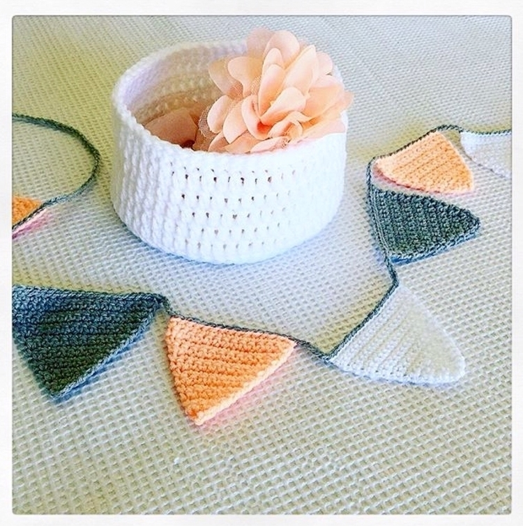 cute crochet bunting , peach/ g - sashcreativedesigns | ello