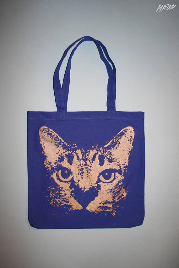hand silkscreened cat tote bag  - 1aeon | ello