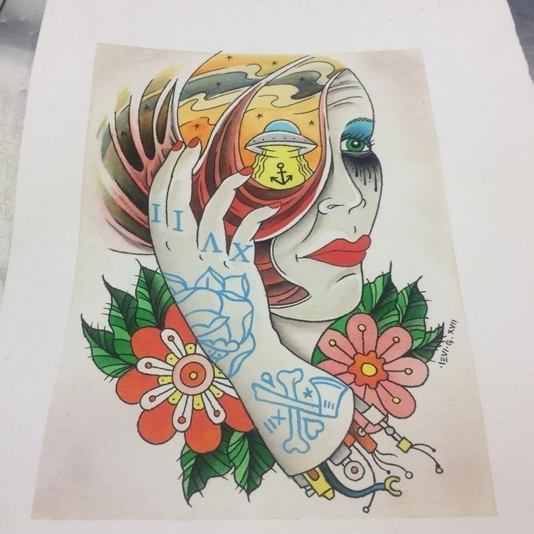 Space Lady. Original - print,, tattoo - levigreenacres | ello