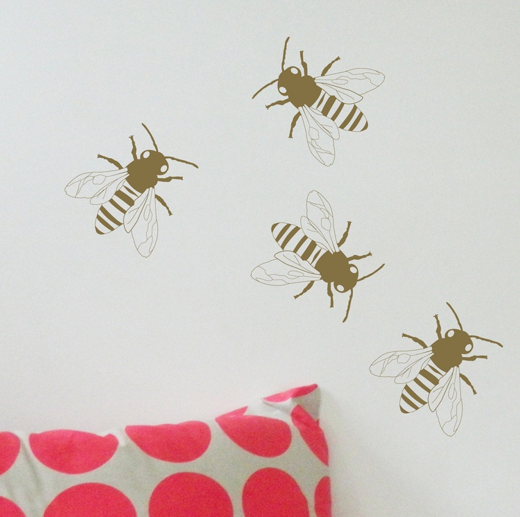 Removable Gold Bee wall sticker - moonfacestudio | ello