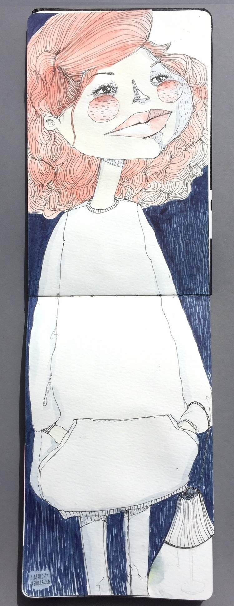 girl — watercolour fineliner ma - violakonrad | ello