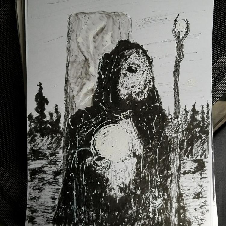 owl druid 9x12 pen sketch - drawing - danhawksworth | ello