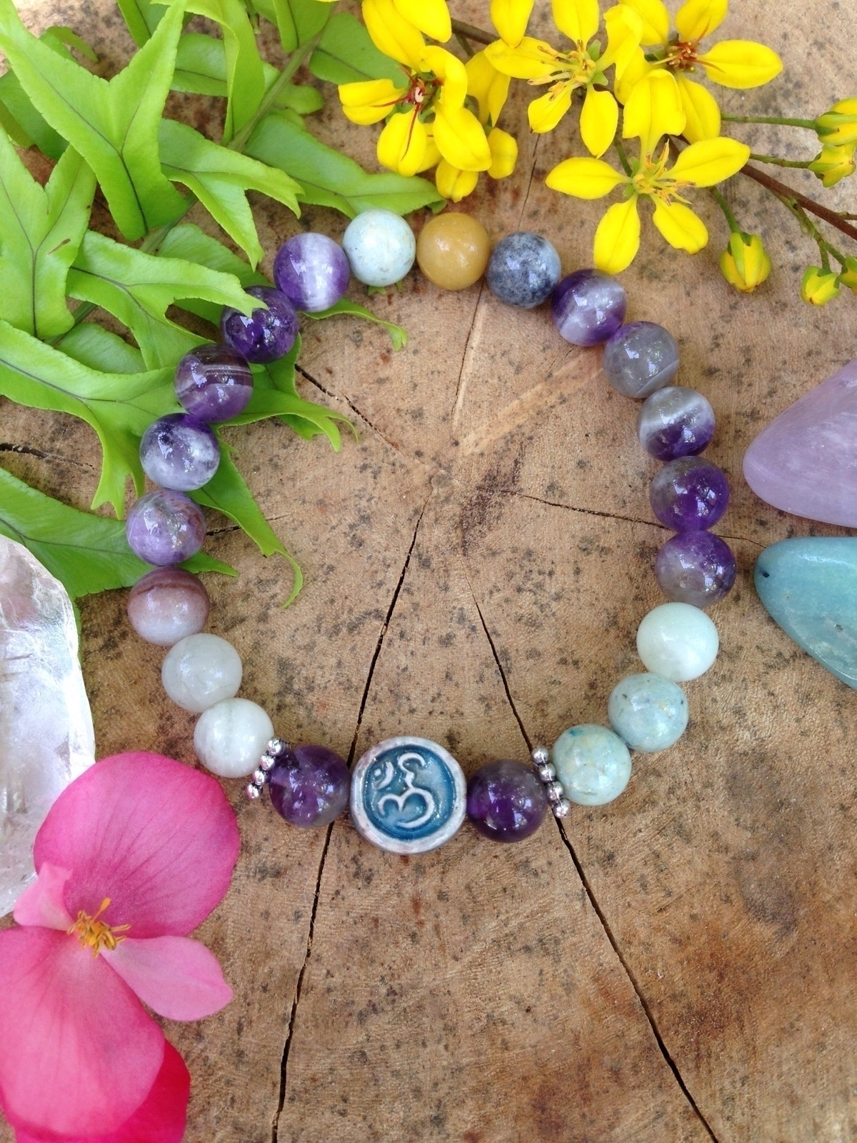 OM meditation yoga bracelet:om - bohoelementsdesigns | ello