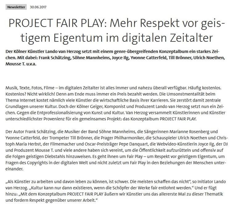 GEMA NEWSLETTER - projectfairplay | ello