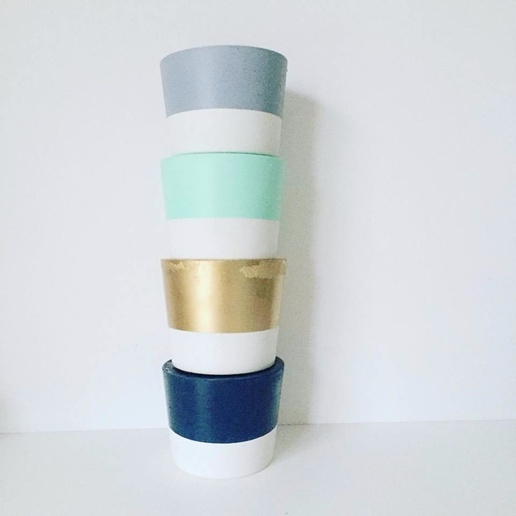 Concrete pots Grey, Mint, Gold  - sweetyellowdecor | ello
