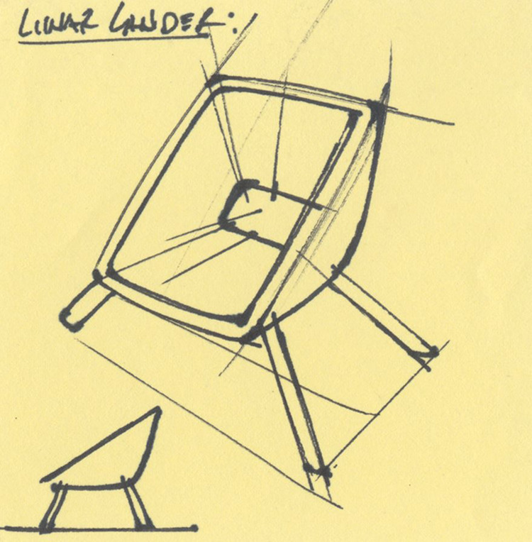 Lunar Lander chair sketch. Ink  - jamesowendesign | ello