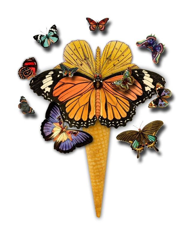 Butterflies Ice Cream (2017 - collageart - gloriasanchez | ello