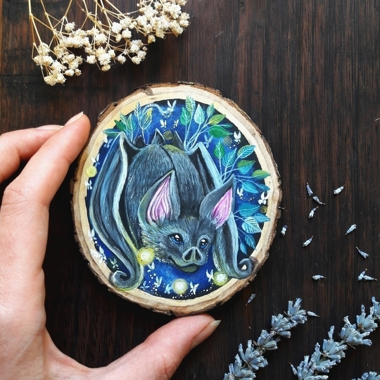 Bat animal spirit painted recyc - magicwood_creations | ello