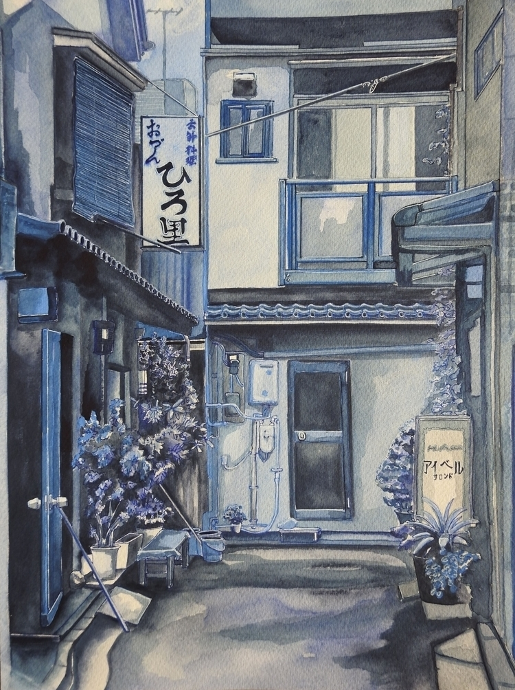 'Oden Alley, Tokyo' Original wa - bluebearvendingco | ello