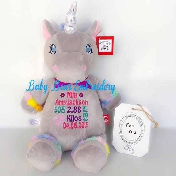 grey unicorn Mia special introd - babybearembroidery | ello