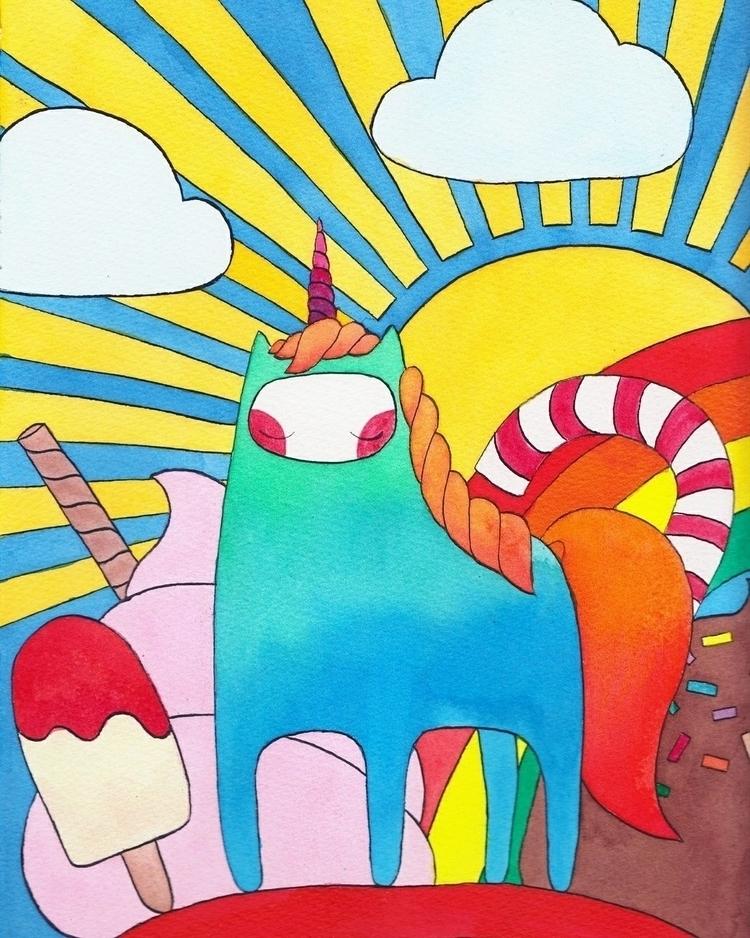 Unicorn dreams - illustration, watercolor - almasoderlind | ello