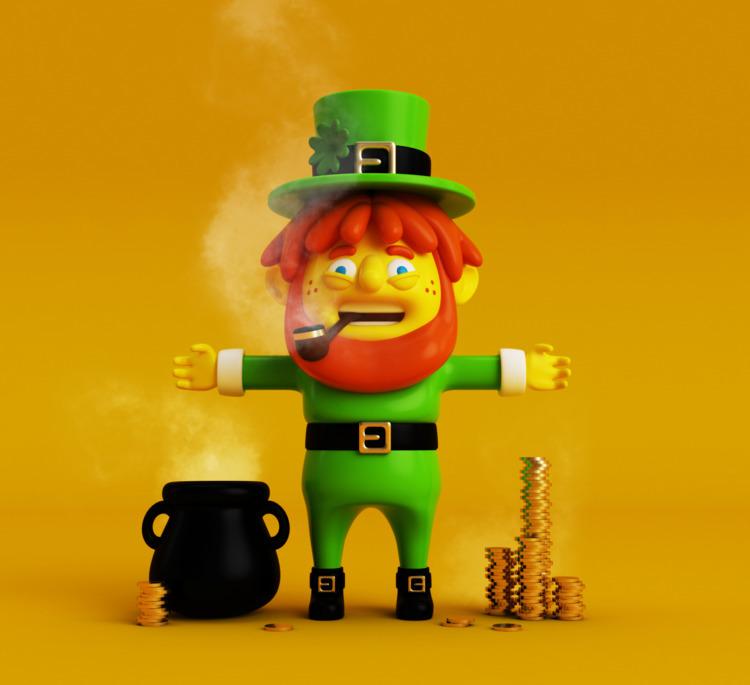 Leprechaun, gnome bowl gold Fol - oscarasecas | ello