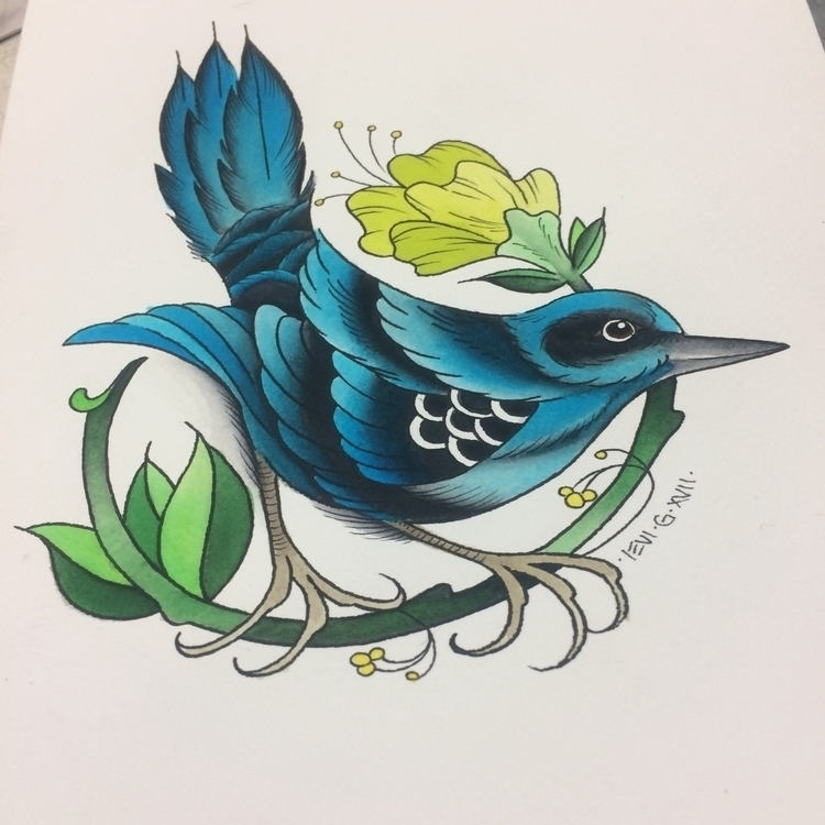 original - bird, flower, painting. - levigreenacres | ello