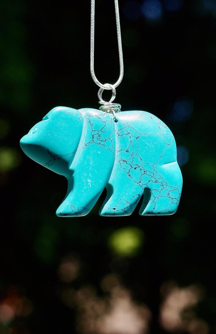 Turquoise howlite stone bear pe - audacitywear | ello