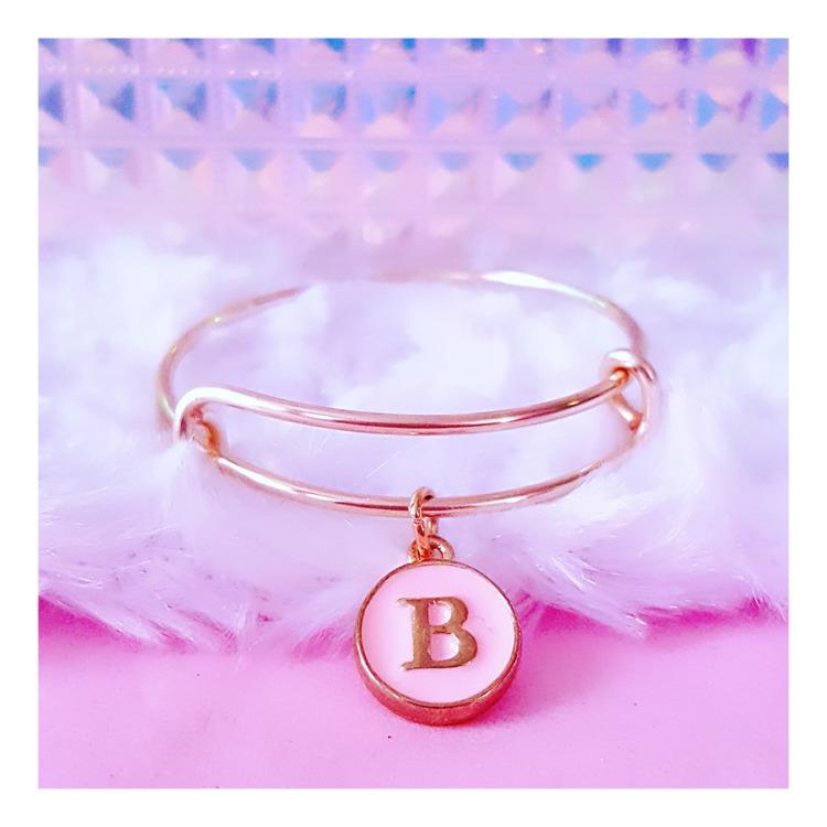 Initial Charm Bangle Bracelet - pinkbutterflybella | ello