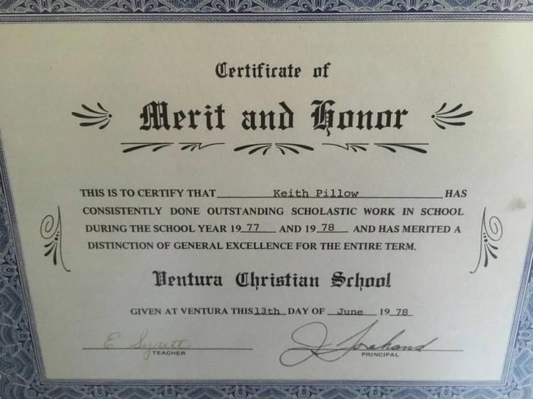 merit honor certificate awards  - keithrpillow   ello