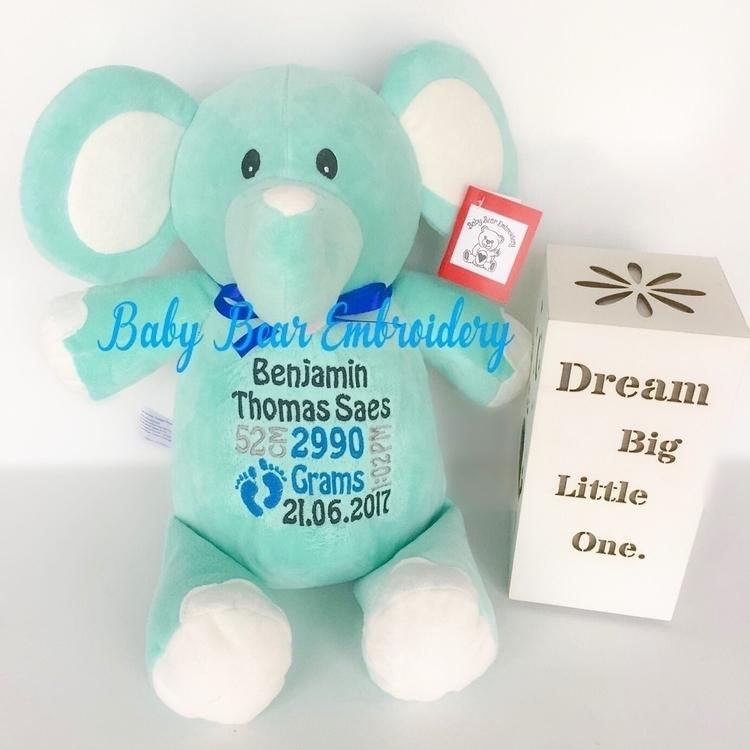 Lovely mint elephant Benjamin  - babybearembroidery | ello