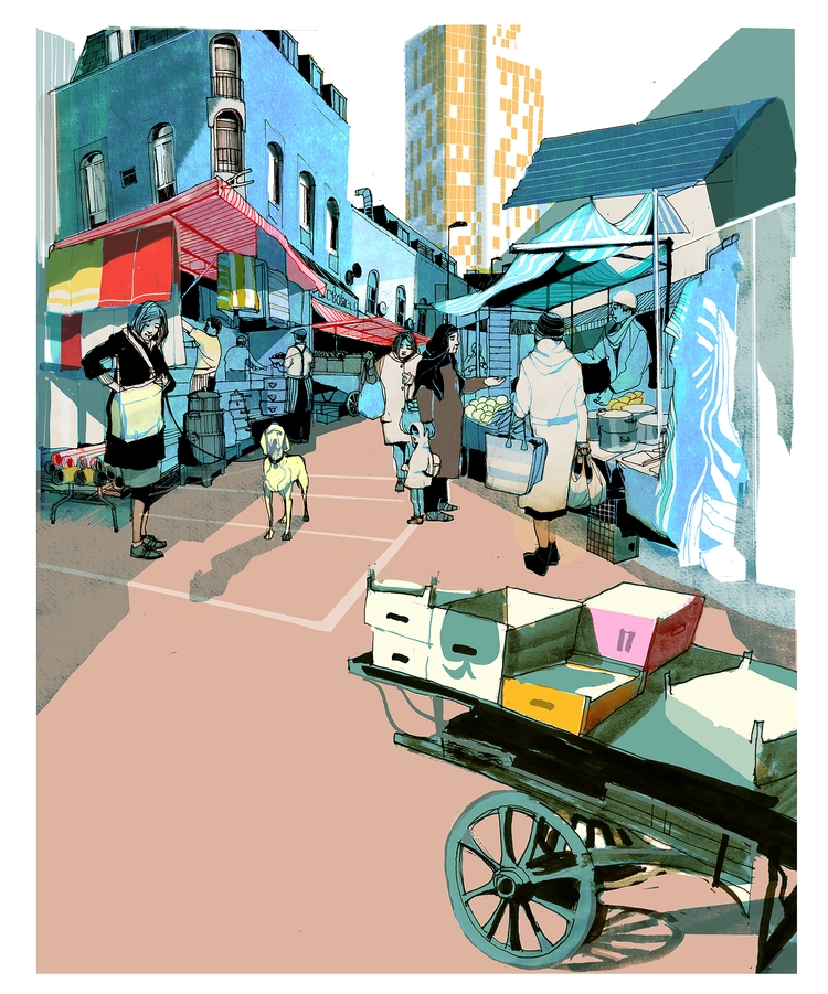 Street-Scene *5 - market, hackney - alexgreendraws | ello